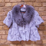 Sapphire mink jacket with silver fox collar