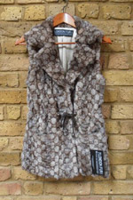Grey/brown mink print drawstring gilet
