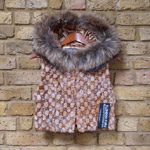 Whiskey mink cropped gilet with hood