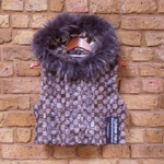Grey/brown cropped mink gilet with hood