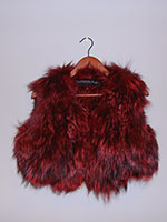 Red and black knitted fox gilet (without or with hood)