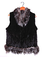 Black knitted mink gilet with silver fox trim