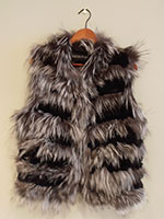 Black knitted rex and silver fox gilet