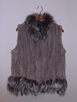 Sapphire grey knitted mink gilet with silver fox trim