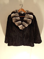 Short mink jacket with chinchilla collar