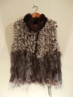 Knitted chinchilla gilet with sable and silver fox trim - Approx size: S - Price: £735 (Ref C285)