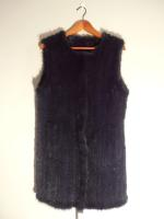 Knitted mink gilet, blue/black - Approx size: S.M - Price: £890 (Ref C289)
