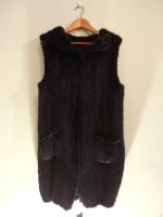 Knitted long black mink gilet with hood - Approx size: M/S - Price: £1,190 (Ref C290)