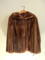 Mid brown mink jacket with hood - Approx size: 12 - Price: £3,400 (Ref C317)