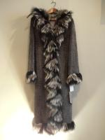Grey mink coat with silver fox trim and hood  - Approx size: M/L - Price: £6,850 (Ref C324)