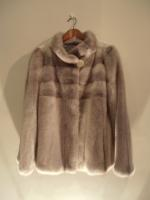 Grey crossed mink jacket - Approx size: S - Price: £3,200 (Ref C333)