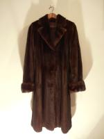 Mahogany mink fitted coat with double cuff - Approx size: S - Price: £2,350 (Ref C337)