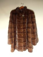 Mid brown mink jacket with drawstring