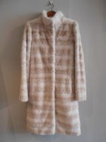 Pearl and wheat printed mink coat with belt
