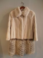 Pearl mink coat with feathered raccoon bottom