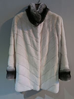 White mink jacket with chinchilla collar and cuffs
