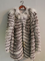 Grey and brown feathered fox jacket