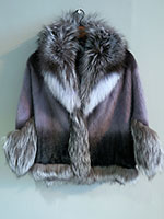 Grey ombre mink cape with fox trim