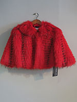 Red feathered raccoon cropped jacket