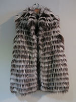 Brown and grey feathered gilet