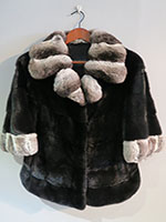 Black Danish mink jacket with chinchilla collar and trim