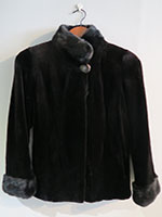 Black sheared mink jacket with full mink trim