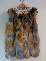 Browns and blues fox gilet with beaded detail