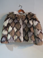 Grey, brown and beige knitted fox jacket