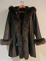 Reversible black full mink coat with fox trim and hood