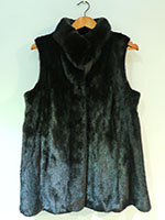 Black mink gilet with drawstring