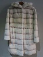 Natural white Rex coat with mink trimmed hood