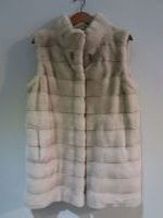 Oatmeal mink gilet with hidden drawstring