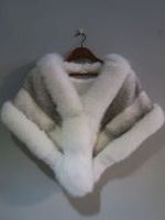 White cross mink cape with white fox trim