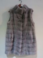 Grey mink gilet with hidden drawstring