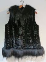 Black mink gilet with fox trim