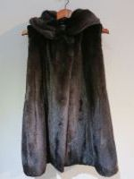 Brown mink gilet with drawstring and hood
