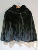 Black mink jacket with hood and drawstring