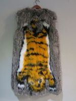 Knotted silver fox gilet with tiger motif