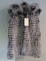 Feathered raccoon gilet with hood