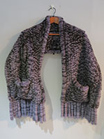 Black and grey large mink knit scarf with pockets