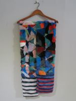 Long Multi coloured mink scarf with pockets