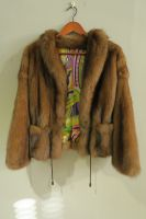 Upcycled golden sable jacket with Pucci style silk lining