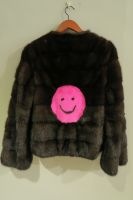 Danish mink jacket with bright pink smiley