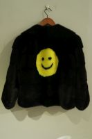 Danish mink jacket with  zip and yellow mink smiley