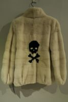 Danish pearl mink jacket with scull and crossbones detail