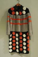 Orange and grey spotted mink and lamb coat