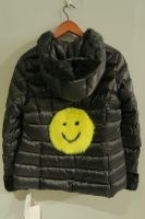 Black quilted jacket with mink trim and hood yellow mink smiley