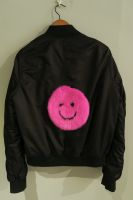 Upcycled black bomber with bright pink mink smiley