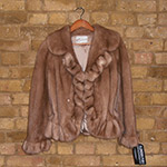 Light caramel ruffled mink jacket with drawstring
