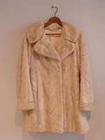 Champagne/grey long mink jacket
